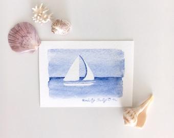 "Sailboat Watercolor - Small Giclee Print - 2.5"" x 3.5"""