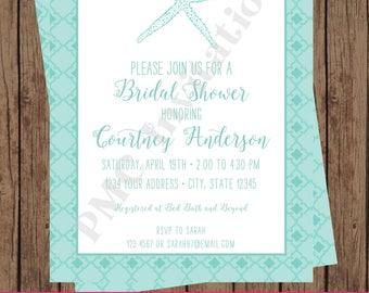 Custom Printed Nautical, Beach, Starfish Bridal Shower Invitations - 1.00 each with envelope