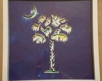 Palmetto and Crescent layered paper cutting
