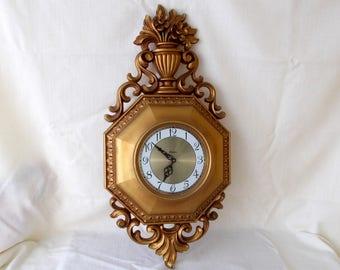 Syroco Wall Clock, Vintage Hollywood Regency Style