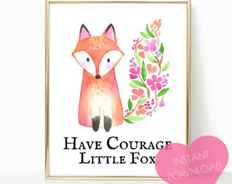 PRINTABLE ART, nursery decor, woodland nursery, nursery decor, fox nursery decor, fox print, wall art, woodland animals, forest animals,