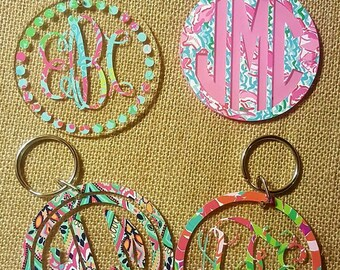 Lilly Pulitzer Inspired Keychain, Lilly Pulitzer Keychain