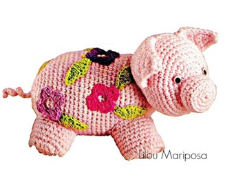 Crochet TOY Pattern Vintage 70s Crochet Pig Toy-Hippie Pig-Stuffed Animal -Toddlers Chidren-Vintage Plush Toy-Zoo Animal- Baby Toy - Vtg-DIY