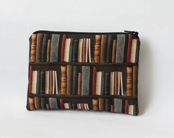 Bookshelf Pouch Book Lover Gift Book Gifts Bookworm Book Clutch Gift for Her Bookish Gifts for Writers Literary Gifts for Readers