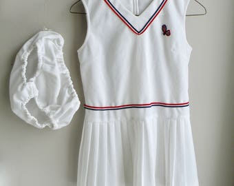60s Girls White Tennis Dress Preppy with Red and Blue Stripes- L