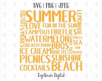 Superb Summer Fun Word Art | Beach | Picnics | BBQs | Campout | Camping | Word