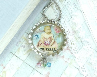 Victorian Necklace Tea Necklace Bottle Cap Jewelry Tea Cup Necklace Shabby Chic Necklace Rose Necklace
