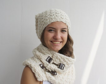 Soft Cream Scarf / Hat Warm set Knitted Scarf and hat Oversized, Chunky Knit, Winter, Women Scarf, Leather link  Under USD 100 Outdoors Gift