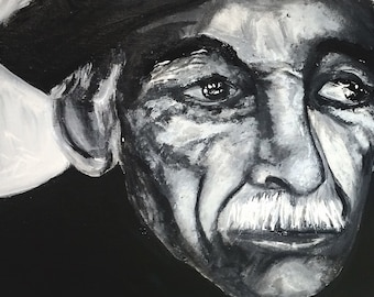 Skepticism Acrylic Painting Black and White Print