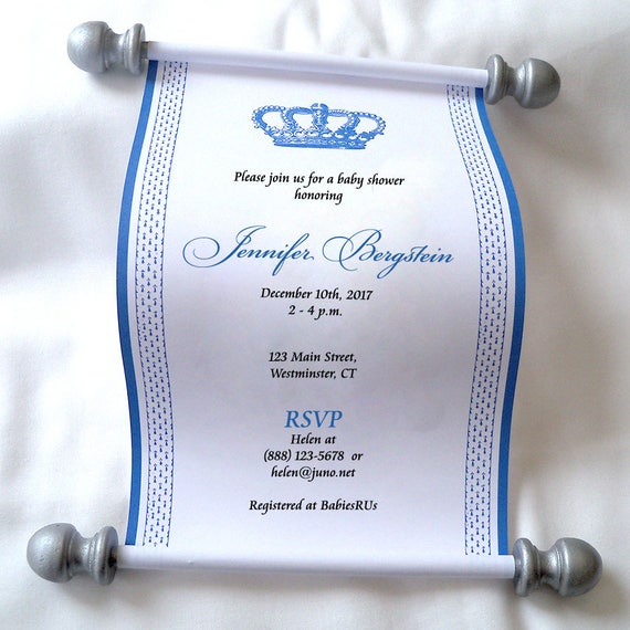 Royal prince baby shower invitation scroll royal baby shower