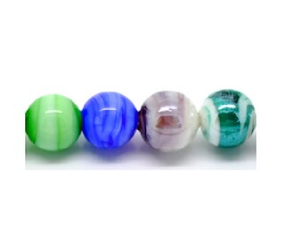 10 glass beads mottled 12 mm assorted colour