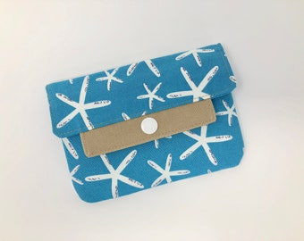 Coin Purse, Credit Card Holder, White Teal Coin Purse, Zippered Inside Pocket, Minimalist Wallet, Starfish, Coastal Wallet,