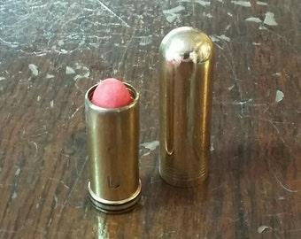 Vintage Lipstick Bullet Tube Cutex Stay Fast Cute Tomato 30's Art Deco Striped Tube Cosmetics Beauty Fashion Vanity