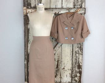 Vintage 1950s Womens Two Piece Khaki Suit Peacoat Style Crop Top High Waisted Pencil Skirt Medium 30 Waist