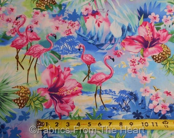 Pink Flamingo Birds Hibiscus Flowers Pineapple BY YARDS Timeless Treasure Fabric