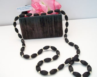 Black Satin Beaded Necklace Satin Wrapped Vintage Costume Jewelry Fashion Accessories For Her
