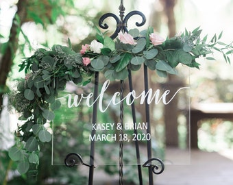 Welcome Sign for Wedding Sign Personalized Clear Painted for Wedding Display, Modern Wedding Decoration Sign Clear Acrylic (Item - WEC640)