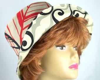 Summer Hat Wide Brim Cotton Sun Hat | Reversible Beige Black Red Floral | Packable Vacation Travel Hat | Womens Sun Hat Brimmed Bucket Hat