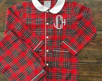 Boy Red Tartan Plaid Flannel Pajamas