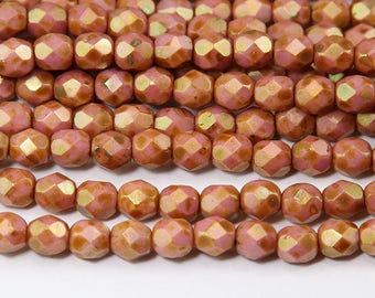 Opaque Rose Gold Topaz Luster Czech Glass Beads, 6mm Faceted Round - 50 pcs - eP65491-6