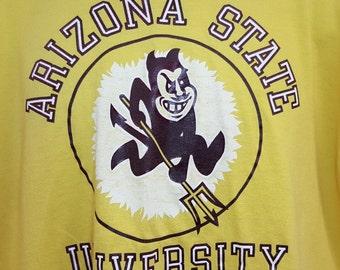 Vintage 80's Arizona State Sun Devils College NCAA Graphic T Shirt