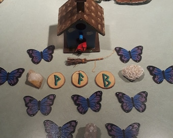 Hand-Painted Wooden Butterfly Runes