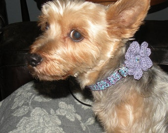 Teal w Purple Sparkle Adjustable Crochet Dog Collar w/ Flower Small