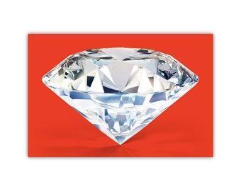 Diamond, Large Canvas Print, Red Decor, Poster, Modern Art, Photography