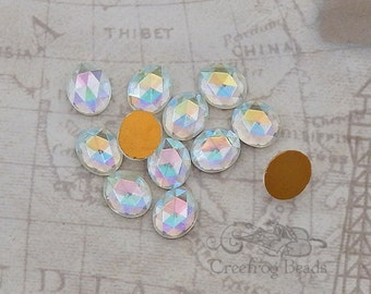 Vintage Cabochons - 10x12 mm Faceted Crystal AB Aurora Borealis - 6 West German Glass Stones