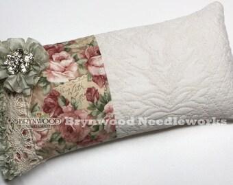 Love Letters Pincushion. Vintage Lace Needlework Sewing Pincushion