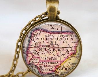 Nigeria antique map necklace,Nigeria map pendant, Nigeria map jewelry , map pendant jewelry  , nigeria africa map pendant