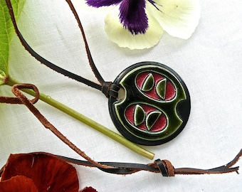Vintage Necklace - Leather with Pottery Pendant - Modernist - Hand Made Pottery Jewelry - Abstract Design - Signed - Hippie - Urban Hipster
