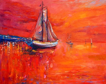 Original Seascape Painting on Canvas-TheSailing Ship2 24x20 Orange Sail Boat Impressionistic Art by Ivailo Nikolov