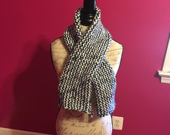 navy and white knitted scarf