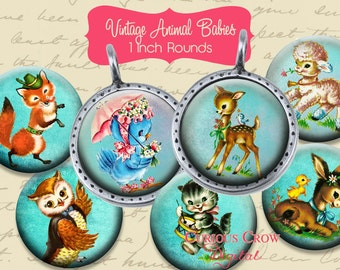 Vintage Animal Babies 1 inch Circle Rounds Digital Collage Sheet -  INSTANT Download - Bottle cap Pendant Jewelry - Printable Download