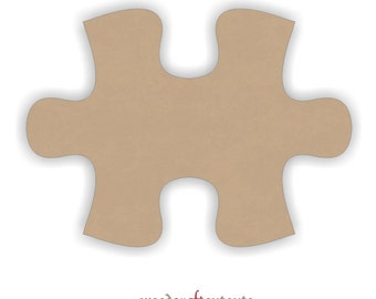 6 Inch Wood Connecting Puzzle Piece Craft Cutout Shape - Unfinished- One Piece - Wall Decor