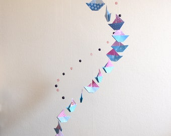 Baby Pink and blue boat origami mobile