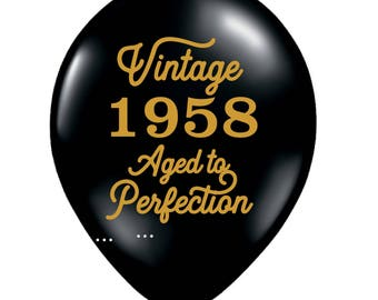 60th Birthday Balloon, 60th Birthday Decoration, 60th Birthday, 60, Black, Gold, Vintage 1958 Balloon, 60th Birthday Favor, 60th Balloon