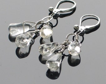 Let It Rain Crystal Quartz Dangle Earrings, Handmade Triple Raindrops and Sterling Earrings