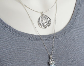Sterling Silver Pendant Necklace, Large Teardrop Pendant, Statement Necklace, Collar Necklace, Modern, Everyday Wear, Urban, Geometric, Boho