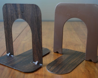 Vintage Pair of Faux Bois - Retro -  Industrial Metal Bookends