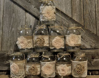 Wedding centerpieces bridal shower decorations burlap mason wedding centerpieces rustic wedding bridal shower decorations burlap wedding burlap and lace junglespirit Choice Image