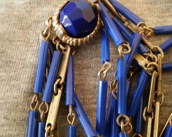 Vintage   Blue Cobalt           Glass Necklace