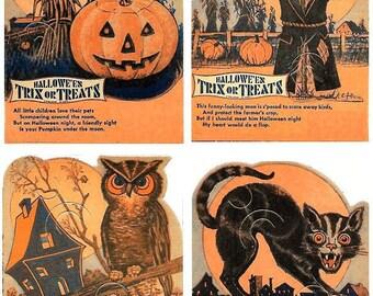 Four Halloween Trick or Treat Candy Card Holders Orange Black Cat Pumpkin Scarecrow Wise Owl PDF
