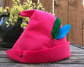 Hot Pink Peter Pan Hat with Green & Blue Feathers