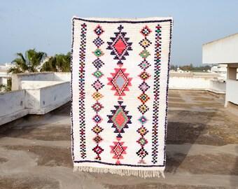Boucherouite Rug #321 - Beautiful Boucherouite Cotton Moroccan Rug, Vintage Rug, Bohemian Rug, Tribal Rug, Berber Rug, Boho Rug