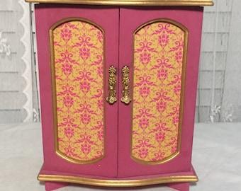 Vintage Jewelry Box, Jewelry Armoire, Jewelry Box Wood, Jewelry Cabinet, Large Jewelry Box, Pink and Gold Jewelry Box