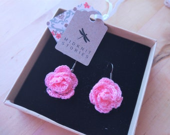 Pink rose crochet earrings