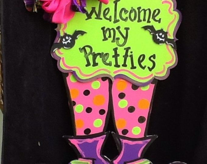 witch legs door sign, halloween signs, welcome my pretties sign, witch door sign, witch door hanger, halloween witch sign, fall door sign,