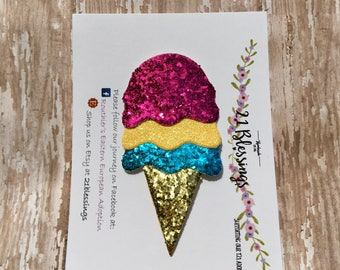 Ice Cream Cone Glitter Hair Accessory| Ice Cream | Summer| Nylon Headband OR Hair Clip| Baby, Toddler, Girls, Adult